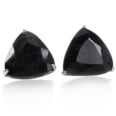 AWESOME 1.96 CARAT GENUINE BLACK SAPPHIRE PLATINUM OVER 0.925 STERLING SILVER EARRINGS