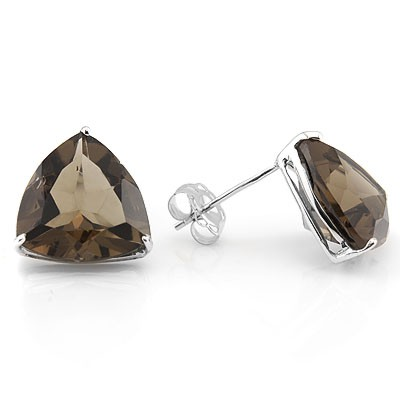 BRILLIANT 1.27 CARAT SMOKEY TOPAZ PLATINUM OVER 0.925 STERLING SILVER EARRINGS