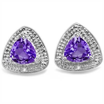 WONDERFUL 1.88 CT AMETHYST & 2 PCS WHITE DIAMOND 0.925 STERLING SILVER W/ PLATINUM EARRINGS