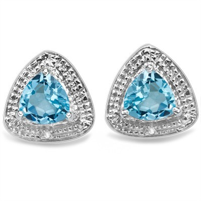 EXCELLENT SKY BULE TOPAZ & GENUINE WHITE DIAMOND 0.925 STERLING SILVER W/ PLATINUM EARRINGS