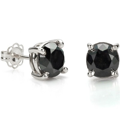 MAJESTIC & AMAZING 2.03 CT BLACK DIAMOND 0.925 STERLING SILVER W/ PLATINUM EARRINGS