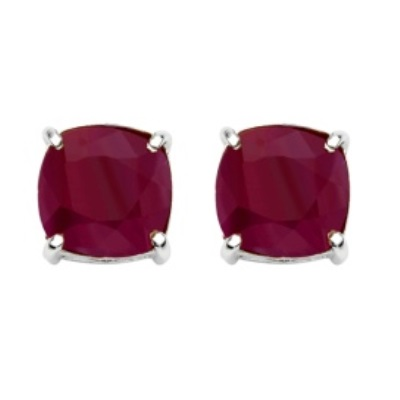 BEAUTIFUL 7.30 CT DYED RED RUBY PLATINUM OVER 0.925 STERLING SILVER EARRINGS