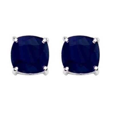 AWESOME 7.60 CT DYED BLUE SAPPHIRE PLATINUM OVER 0.925 STERLING SILVER EARRINGS