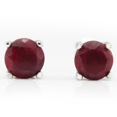 BEAUTIFUL 2.80 CT DYED RED RUBY 0.925 STERLING SILVER W/ PLATINUM EARRINGS