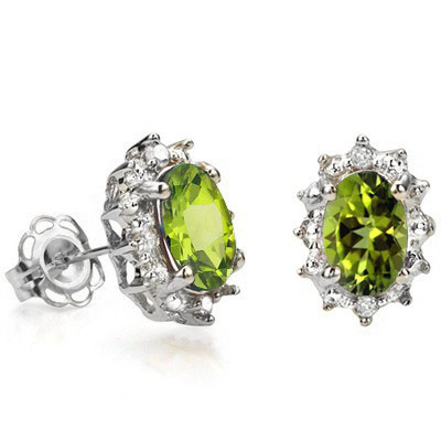 STUNNING 0.96 CARAT PERIDOT & GENUINE DIAMOND PLATINUM OVER 0.925 STERLING SILVER EARRINGS