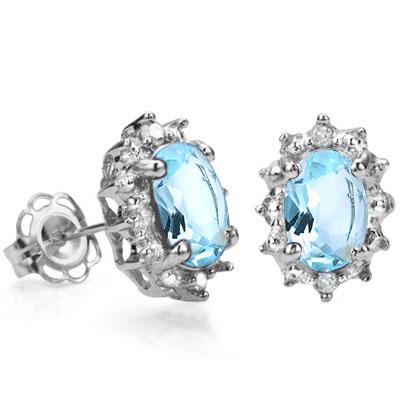 PRICELESS 1.16 CARAT TW BLUE TOPAZ & GENUINE DIAMOND PLATINUM OVER 0.925 STERLING SILVER EARRINGS