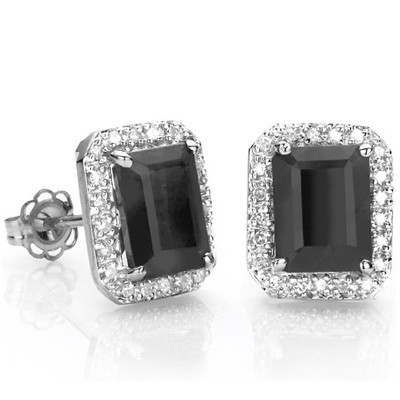 CHARMING 3.50 CT GENUINE SAPPHIRE & 2 PCS WHITE DIAMOND 0.925 STERLING SILVER W/ PLATINUM EARRINGS