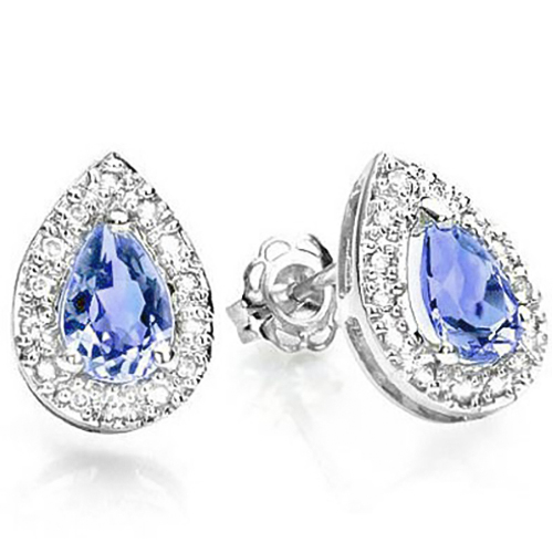 MAGNIFICENT 0.73 CARAT TW GENUINE TANZANITE & GENUINE DIAMOND PLATINUM OVER 0.925 STERLING SILVER EARRINGS