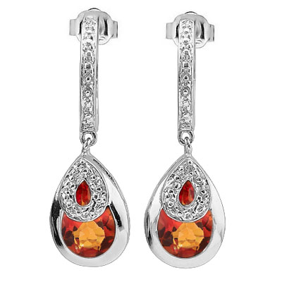 BRILLIANT 3.96 CARAT TW  AZOTIC GEMSTONE & GENUINE DIAMOND PLATINUM OVER 0.925 STERLING SILVER EARRINGS