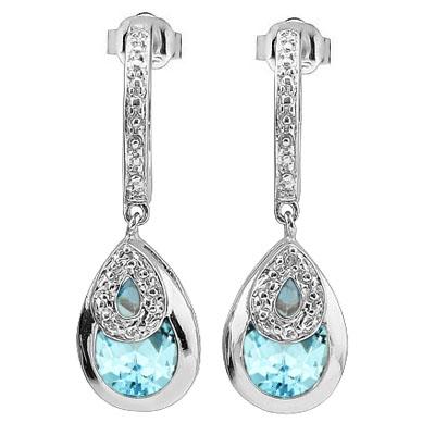 AMAZING 3.51 CARAT TW BLUE TOPAZ & GENUINE DIAMOND PLATINUM OVER 0.925 STERLING SILVER EARRINGS