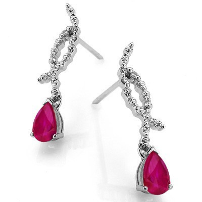 SPECTACULAR GENUINE RUBY WITH DOUBLE DIAMOND 0.925 STERLING SILVER W/ PLATINUM EARRINGS