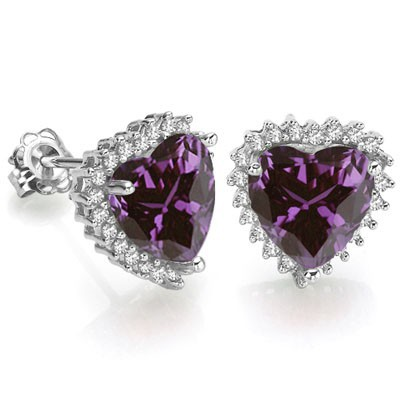 BEAUTIFUL 3.11 CARAT TW AMETHYST & GENUINE DIAMOND PLATINUM OVER 0.925 STERLING SILVER EARRINGS