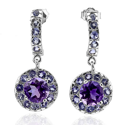 ALLURING 2.46 CARAT  AMETHYST & GENUINE TANZANITE PLATINUM OVER 0.925 STERLING SILVER EARRINGS