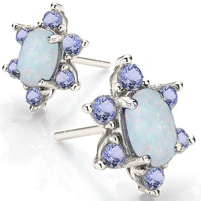 BRILLIANT CREATED FIRE OPAL WITH 12 PCS GENUINE TANZANITE 0.925 STERLING SILVER W/ PLATINUM EARRINGS