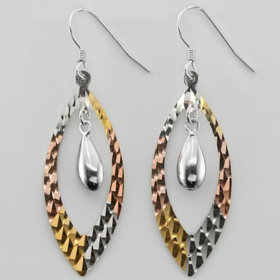 STUNNING FASHION DESIGN TRI-COLOR 0.925 STERLING SILVER EARRNGS