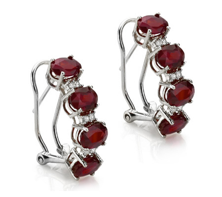 5 1/5 CARAT GARNET & DIAMOND 925 STERLING SILVER EARRINGS
