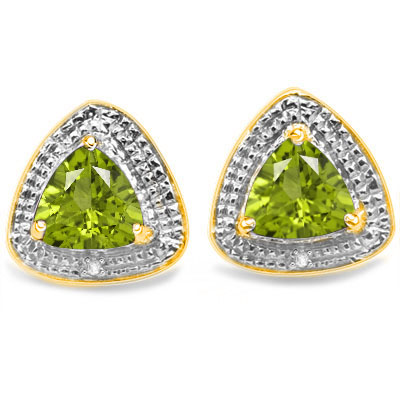 4/5 CARAT PERIDOT & DIAMOND 925 STERLING SILVER EARRINGS