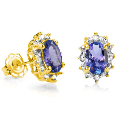 4/5 CARAT TANZANITE & DIAMOND 925 STERLING SILVER EARRINGS