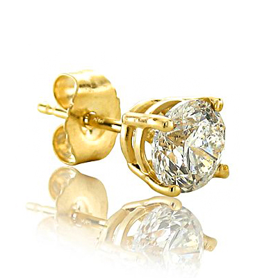AWESOME 2/5 CARAT DIAMOND 10K <b><u>SOLID</b></u> YELLOW GOLD EARRINGS