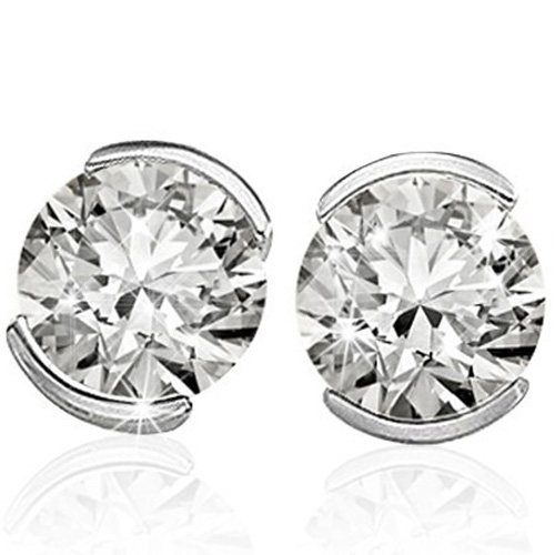 <B>DEA - </B>LOVELY 1/3 CARAT TW (2 PCS) GENUINE DIAMOND 14K <b><u>SOLID</b></u> WHITE GOLD EARRINGS