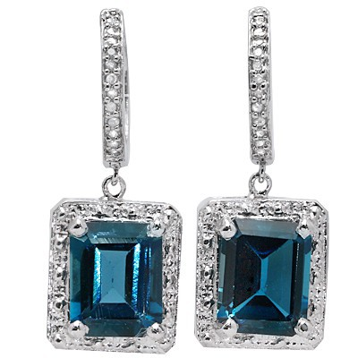 5 2/3 CARAT CREATED LONDON BLUE TOPAZ & 1/5 CARAT 26 PCS DIAMOND 925 STERLING SILVER EARRINGS