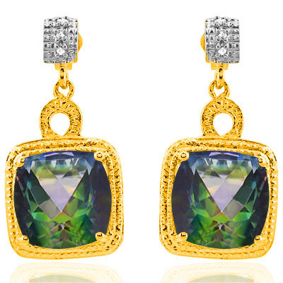 8 CARAT GREEN MYSTIC GEMSTONE & DIAMOND 925 STERLING SILVER EARRINGS