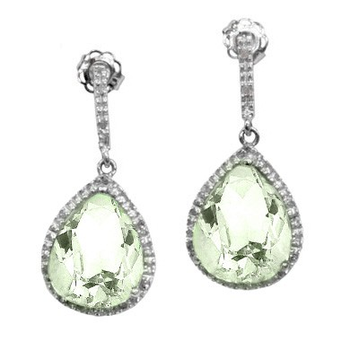 9 CARAT GREEN AMETHYST & 16 PCS GENUINE DIAMOND 925 STERLING SILVER EARRINGS