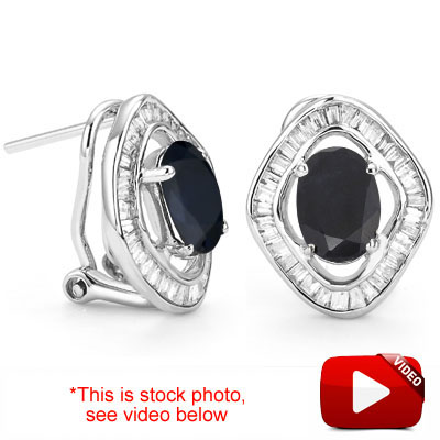 <B>DEA - </B>AMAZING 2.36 CARAT TW (80 PCS) GENUINE SAPPHIRE & GENUINE DIAMOND 14K <b><u>SOLID</b></u> WHITE GOLD EARRINGS