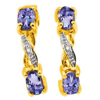 TANZANITE & DIAMOND 925 STERLING SILVER EARRINGS