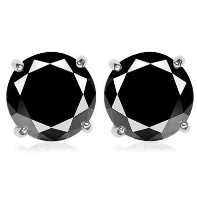 SPECTACULAR 1.2 CARAT TW (2 PCS) BLACK DIAMOND 10K <b><u>SOLID</b></u> WHITE GOLD EARRINGS