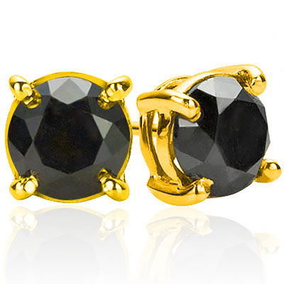 SPARKLING 1.18 CARAT TW (2 PCS) BLACK DIAMOND 10K <b><u>SOLID</b></u> YELLOW GOLD EARRINGS