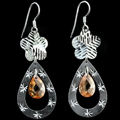 STUNNING FASHION DESIGN GOLDEN YELLOW CREATED GEMSTONES 0.925 STERLING SILVER EARRNGS