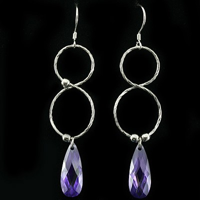 FASHION PURPLE CREATED GEMSTONES 0.925 STERLING SILVER W/ PLATINUM EARRINGS