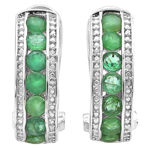 DAZZLING 1.692 CARAT GENUINE EMERALD & GENUINE DIAMOND PLATINUM OVER 0.925 STERLING SILVER FRENCH BACK EARRINGS