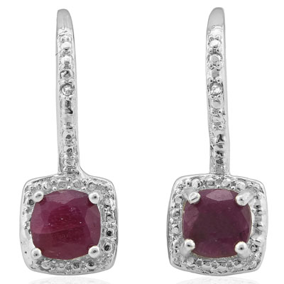 BRILLIANT 1.512 CARAT GENUINE RUBY & GENUINE DIAMOND PLATINUM OVER 0.925 STERLING SILVER HOOK EARRINGS
