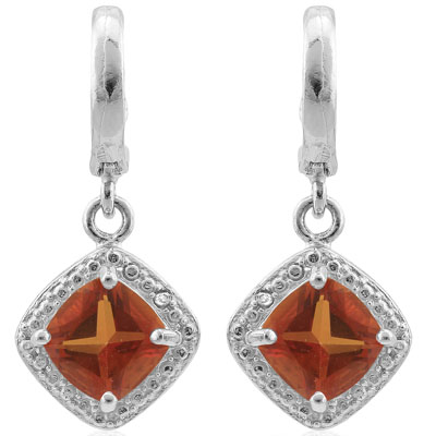 BEAUTIFUL 1.812 CARAT AZOTIC GEMSTONE & GENUINE DIAMOND PLATINUM OVER 0.925 STERLING SILVER LEVER BACK EARRINGS