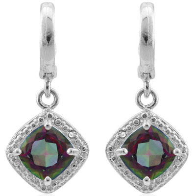 ALLURING 2.012 CARAT  MYSTIC GEMSTONE & GENUINE DIAMOND PLATINUM OVER 0.925 STERLING SILVER LEVER BACK EARRINGS