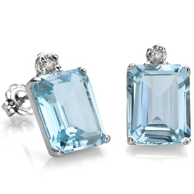 BEAUTIFUL 2.50 CT BLUE TOPAZ WITH DOUBLE GENUINE DIAMONDS 0.925 STERLING SILVER W/ PLATINUM EARRINGS