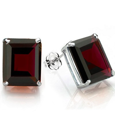 ALLURING 1.60 CT GARNET 0.925 STERLING SILVER W/ PLATINUM EARRINGS