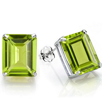 PRICELESS 1.20 CT PERIDOT 0.925 STERLING SILVER W/ PLATINUM EARRINGS