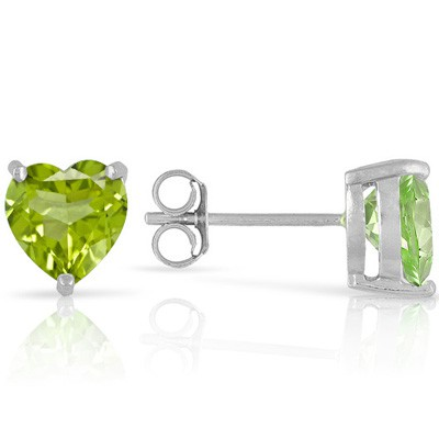 GREAT 1.00 CT PERIDOT 0.925 STERLING SILVER W/ PLATINUM EARRINGS