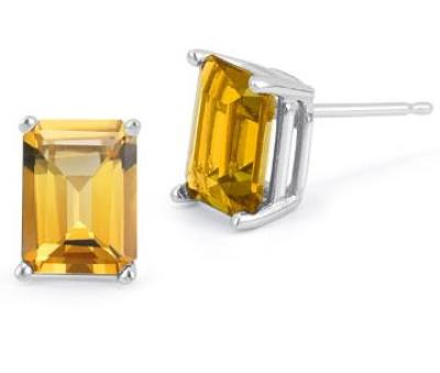 PRETTY 1.10 CT CITRINE PLATINUM OVER 0.925 STERLING SILVER EARRINGS