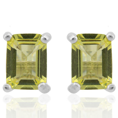 CAPTIVATING 1.9 CARAT TW (2 PCS) LEMON QUARTZ PLATINUM OVER 0.925 STERLING SILVER EARRINGS
