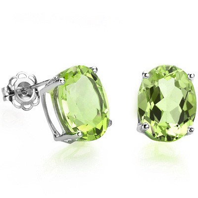 PERFECT 1.00 CT PERIDOT 0.925 STERLING SILVER W/ PLATINUM EARRINGS