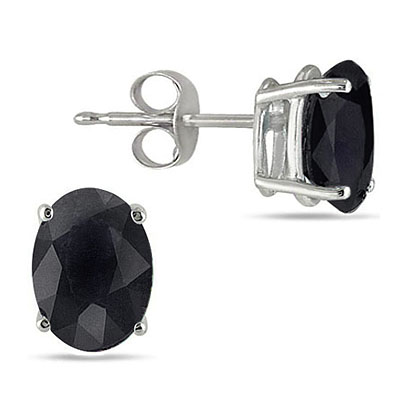 AMAZING 1.83 CT GENUINE BLACK SAPPHIRE 0.925 STERLING SILVER W/ PLATINUM EARRINGS