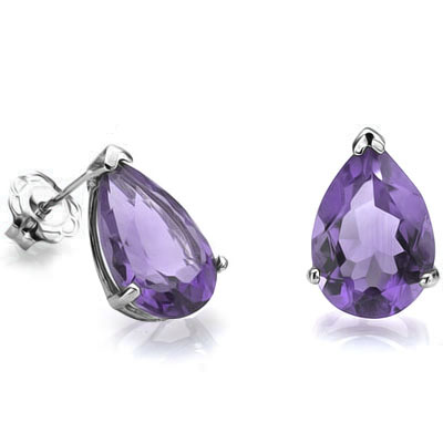 ALLURING 0.76 CARAT TW (2 PCS) AMETHYST PLATINUM OVER 0.925 STERLING SILVER EARRINGS