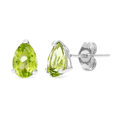 SPECTACULAR 0.89 CARAT TW (2 PCS) PERIDOT PLATINUM OVER 0.925 STERLING SILVER EARRINGS