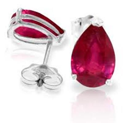 DAZZLING 0.76 CARAT TW (2 PCS) GENUINE RUBY PLATINUM OVER 0.925 STERLING SILVER EARRINGS