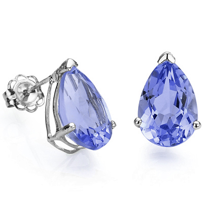 BRILLIANT 0.73 CARAT TW (2 PCS) GENUINE TANZANITE PLATINUM OVER 0.925 STERLING SILVER EARRINGS
