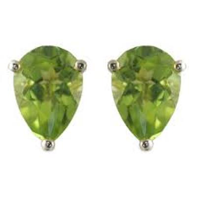 CHARMING 1.5 CARAT TW (2 PCS) PERIDOT PLATINUM OVER 0.925 STERLING SILVER EARRINGS